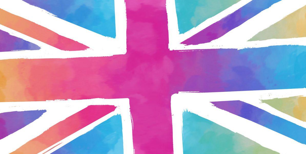 Britische Flagge in bunten Farben