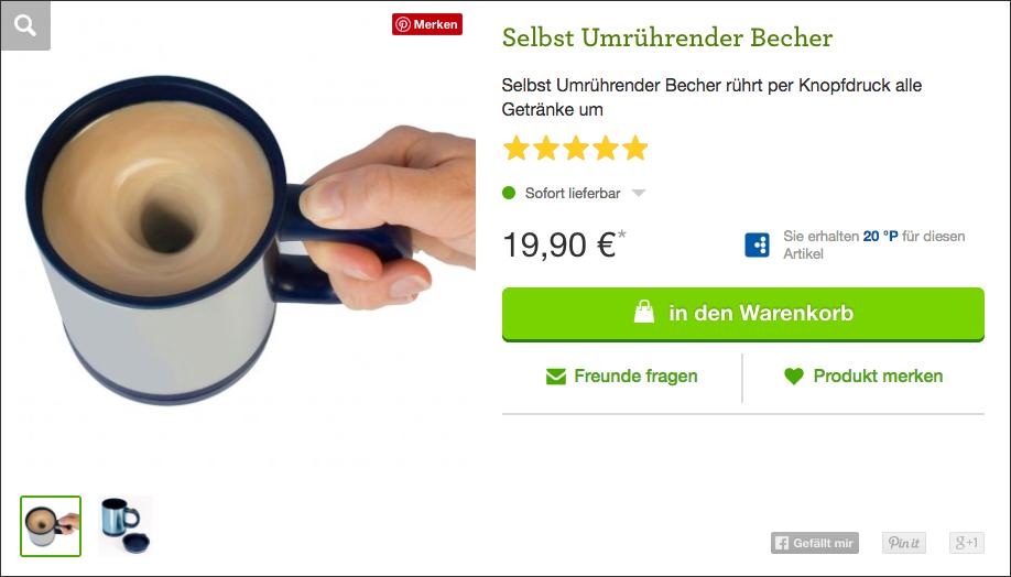 Wichtelgeschenk: Selbst umrührender Kaffeebecher
